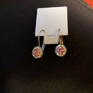 ⚡️Silver tone, pink, rhinestone earrings